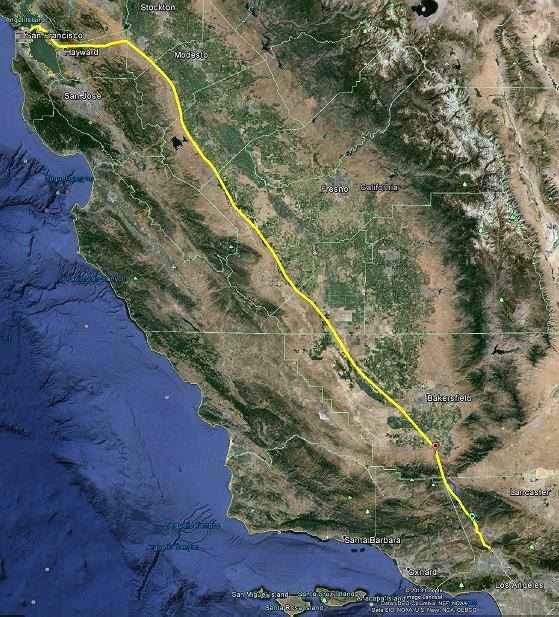 Planowana trasa przebiegu linii Hyperloop z Los Angeles do San Francisco