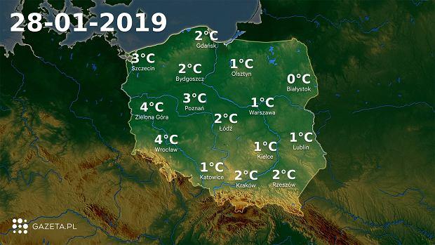 Mapa temperatury 28.01.2019r