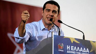 Lider SYRIZ-y Alexis Tsipras podczas wiecu wyborczego w Salonikach. Na jego partię chce głosować 25 proc. Greków