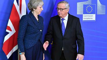 Brexit. Premier Wielkiej Brytanii Theresa May i szef Komisji Europejskiej Jean-Claude Juncker, luty 2019