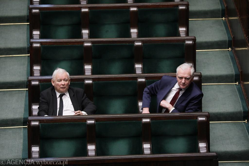 Jarosław Kaczyński i wicepremier Jarosław Gowin