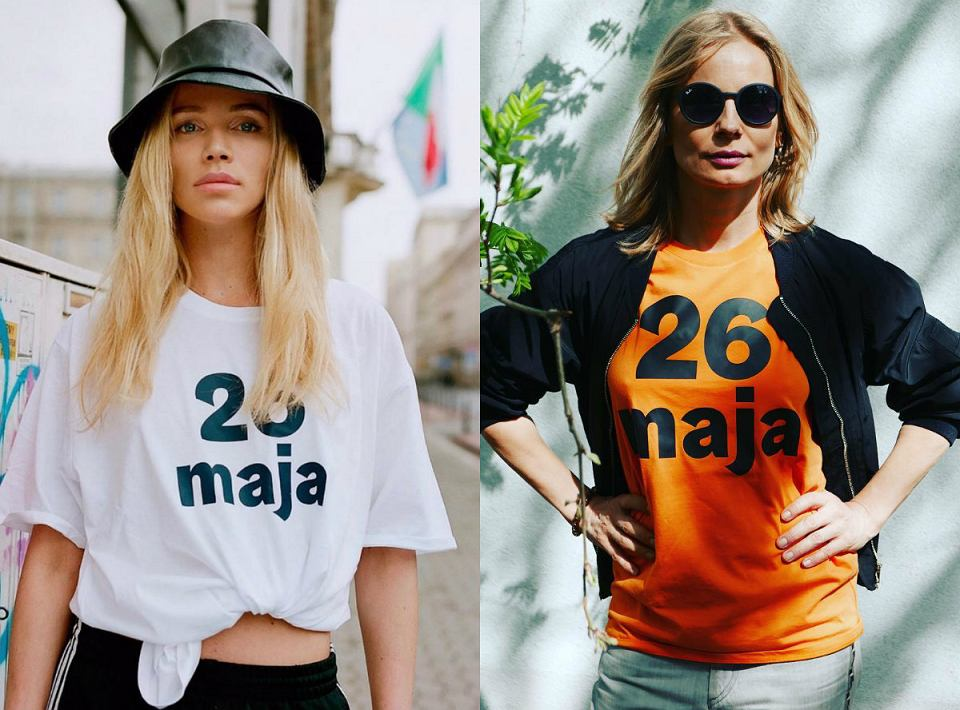 Maffashion i aktorka Magdalena Cielecka w koszulkach promujących, zbliżające się wybory do europarlamentu