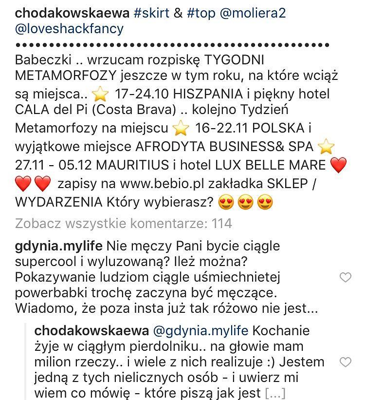 Ewa Chodakowska odpowiada fance