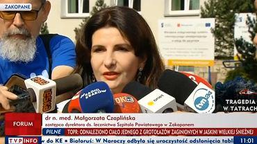 Dr. n. med. Małgorzata Czaplińska zastępca dyrektora ds. lecznictwa Szpitala Powiatowego w Zakopanem