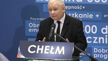 Jarosław Kaczyński na przedwyborczej konwencji PiS Chełmie