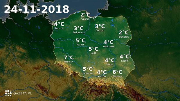 Temperatury 24.11.2018 r.
