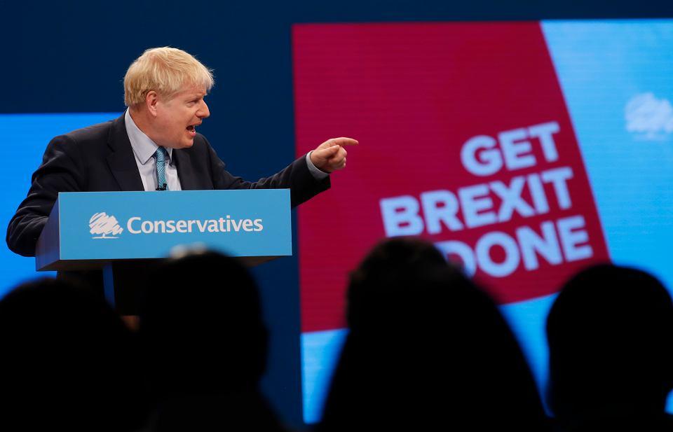 Premier Wielkiej Brytanii Boris Johnson podczas partyjnej konwencji. Manchester, 2 października 2019