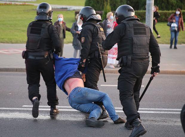 Zatrzymania protestujących Białorusinów po inauguracji Aleksandra Łukaszenki, 23 września 2020.