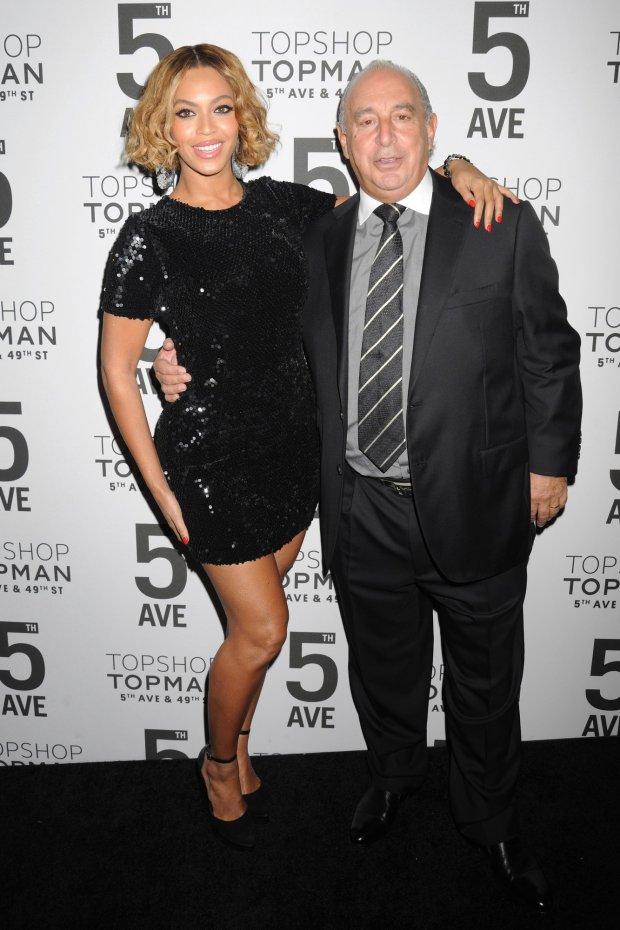 Beyonce i Sir Philip Green, właściciel Topshopu, podczas nowojorskiej imprezy marki