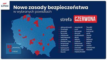 Lista powiatów i miast w strefie czerwonej od 10 października 2020.