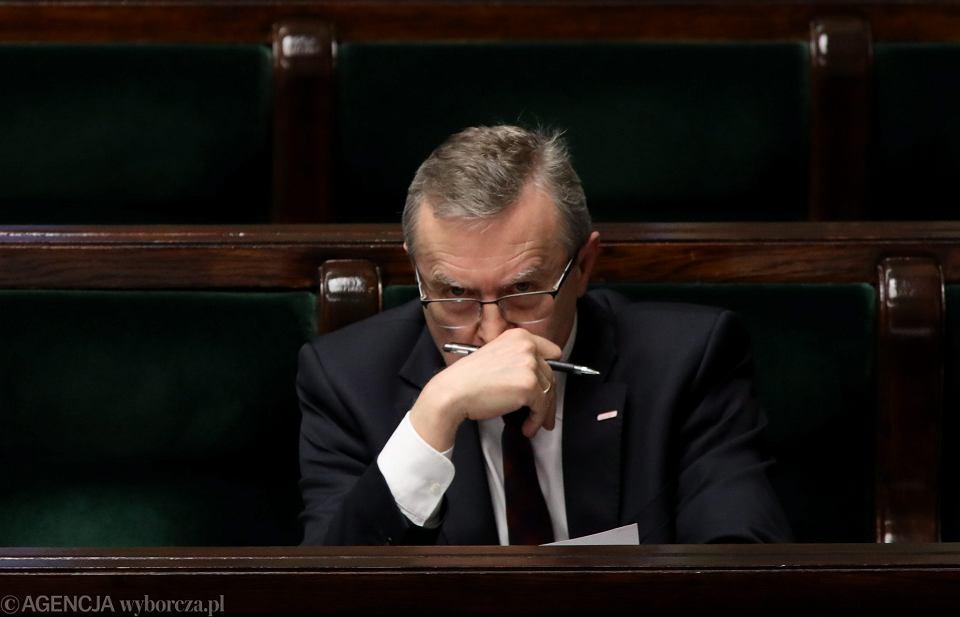 Minister kultury, wicepremier w rządzie PiS Piotr Gliński. Warszawa, Sejm, 8 czerwca 2018