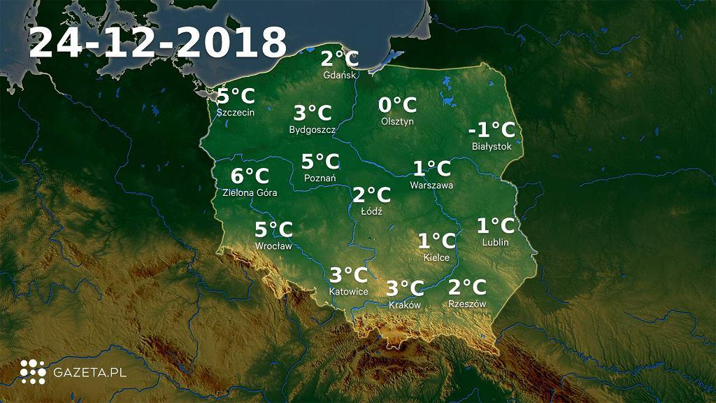 Mapa temperatury 24.12.2018r.