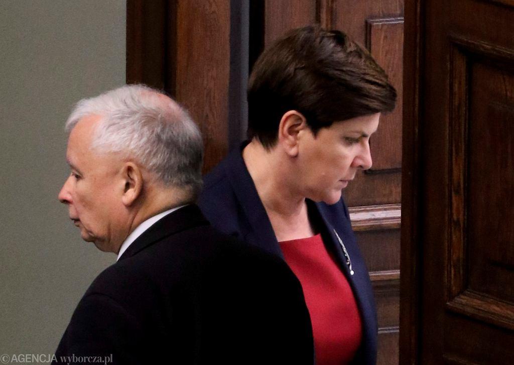 Beata Szydło i prezes Jarosław Kaczyński w Sejmie