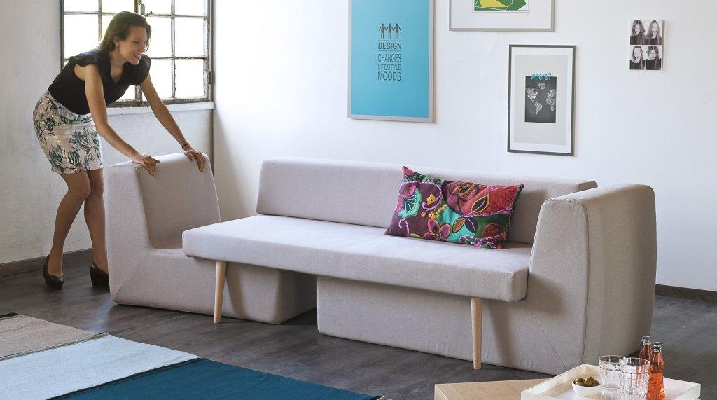 Modułowa sofa Divano, którą można rozłożyć na trzy niezależne siedziska, Formabilio, wzór