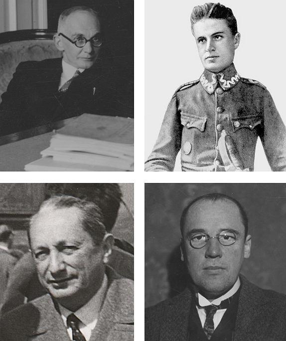 U góry: Stefan Mazurkiewicz (1888-1945), Zygmunt Janiszewski ( 1888-1920). Poniżej: Kazimierz Kuratowski (1896-1980), Wacław Sierpiński (1882-1969)