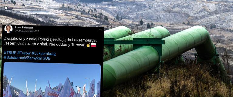 """Górnicy najechali Luksemburg. """"Zamykamy TSUE"""". Protest w obronie Turowa"""