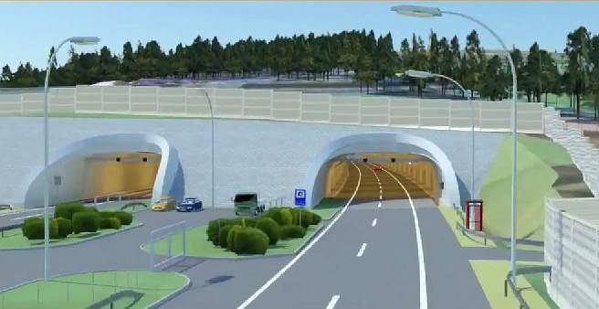 Wizualizacja północnego portalu tunelu pod Małym Luboniem