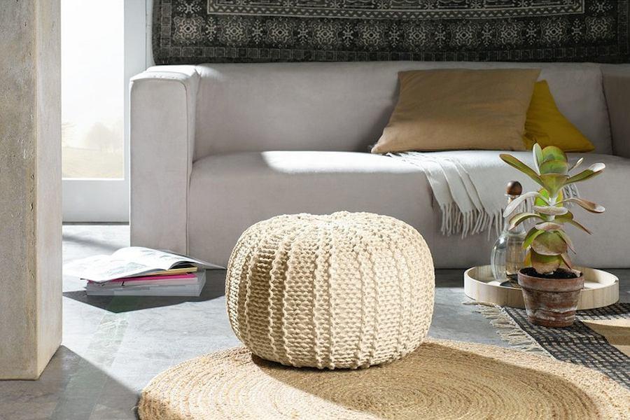 Puf Livarnoliving z bawełnianego sznurka od marki Lidl