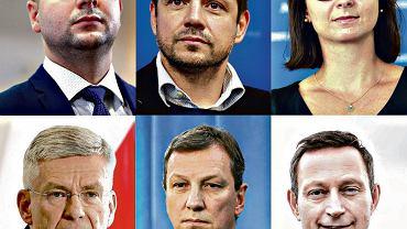 Potencjalni kandydaci na prezydenta Warszawy. Od lewej na górze: Patryk Jaki (PiS), Rafał Trzaskowski (PO), Kamila Gasiuk-Pihowicz (Nowoczesna). Na dole od lewej: Stanisław Karczewski (PiS), Andrzej Halicki (PO), Paweł Rabiej (NOWOCZESNA)