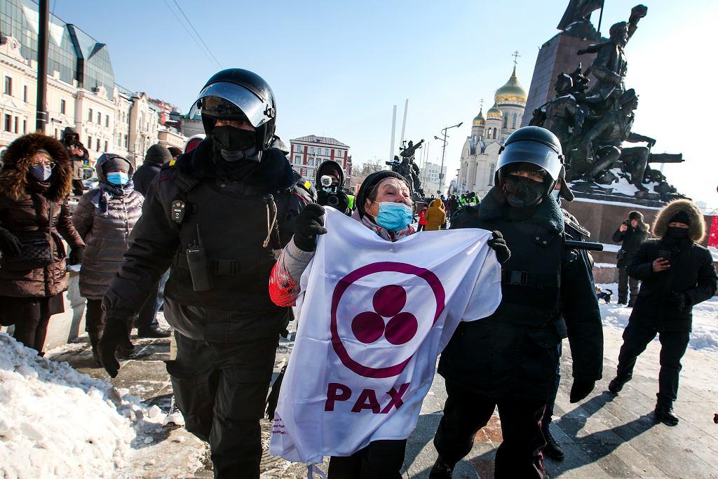 31.01.2021, Władywostok, zatrzymania podczas protestu w obronie aresztowanego opozycjonisty Aleksieja Nawalnego.
