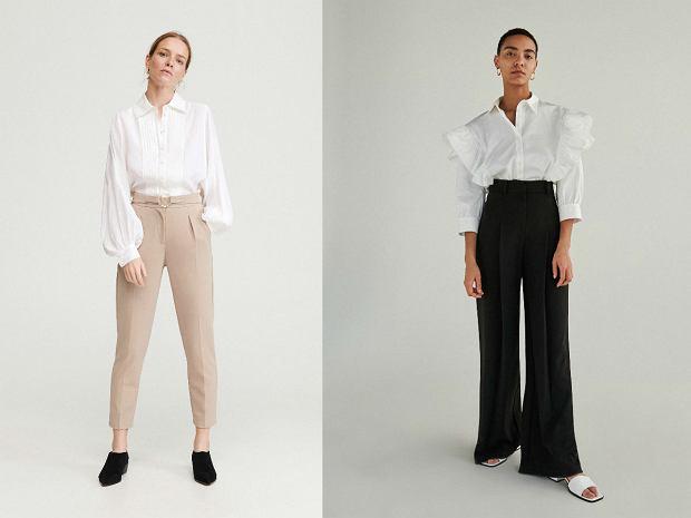 Biała koszula damska - bufki i falbany