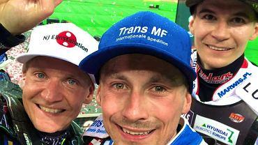 Najlepsi w turnieju Grand Prix 2019 na Stadionie Narodowym w Warszawie. Od lewej: Fredrik Lindgren, Leon Madsen i Patryk Dudek
