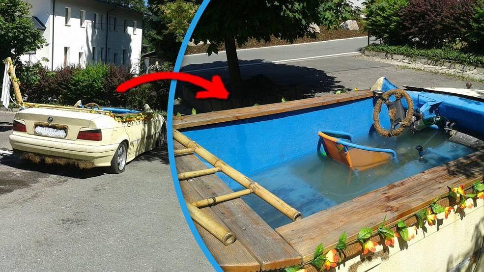 Samochód przerobiony na basen