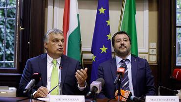 Premier Węgier Viktor Orban i Premier Włoch Matteo Salvini podczas konferencji dotyczącej polityki wobec imigrantów. Mediolan, 28.08.2018 r