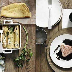 Stek z tuńczyka w sosie sojowo-balsamicznym, Szafranowe naleśniki ze szparagami