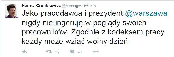 Twitter / Hanna Gronkiewicz-Waltz