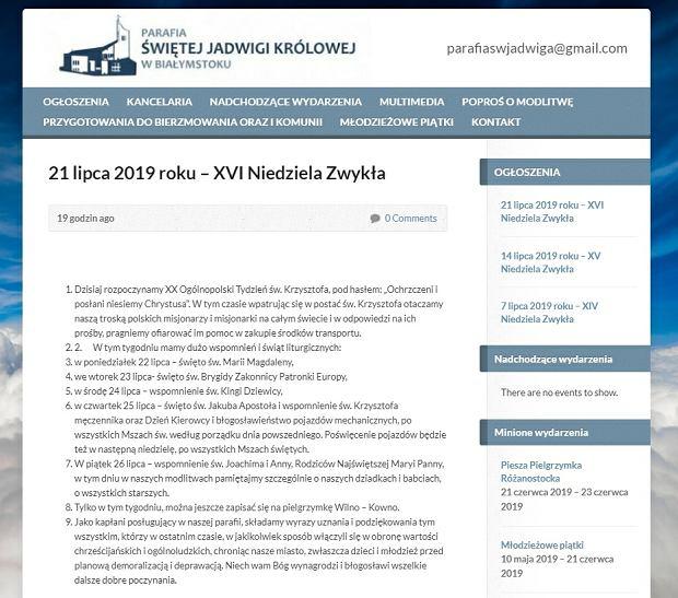 Ogłoszenia z 21 lipca na stronie parafii św. Jadwigi Królowej w Białymstoku
