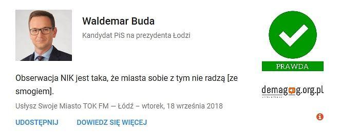 Wypowiedź Waldemara Budy zweryfikowana przez serwis Demagog.org.pl