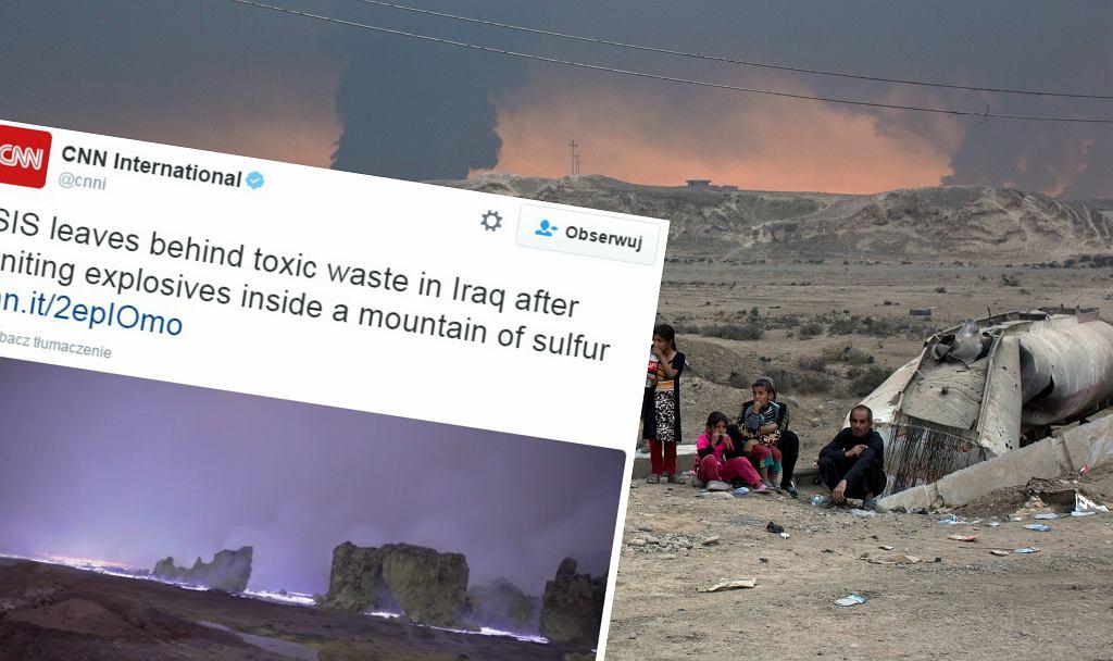Płonące hałdy siarki pod Mosulem