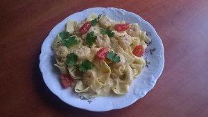 Pappardelle z krewetkami w kremowym a'la pesto