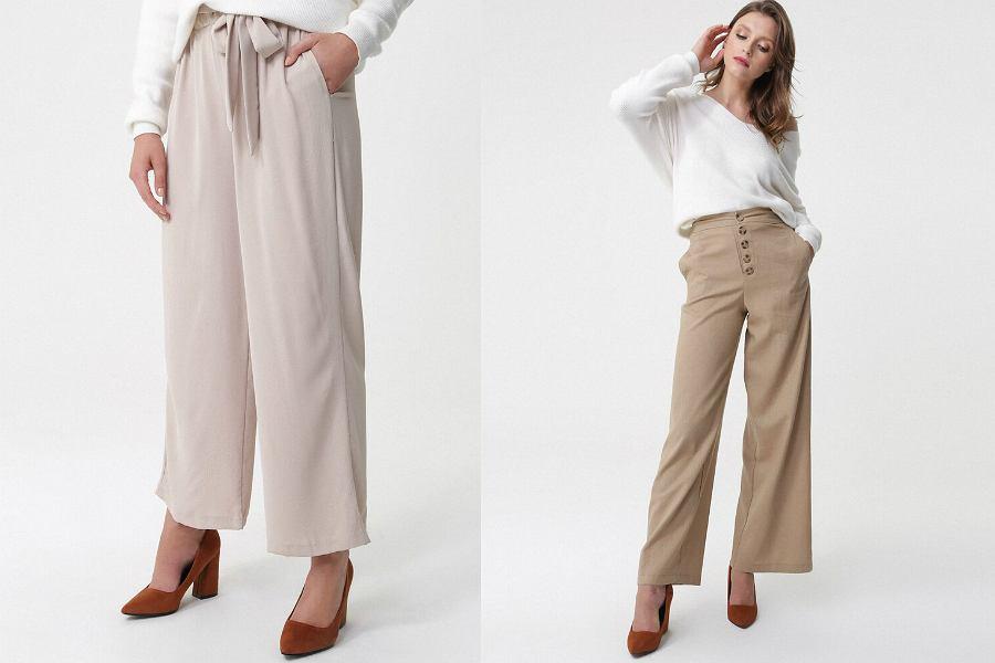 beżowe spodnie z szerokimi nogawkami