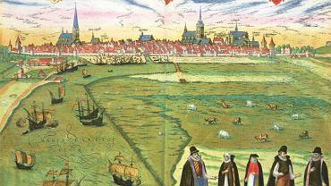 Widok Wilna, sztych z atlasu miast świata ''Civitates orbis terrarum'' Georga Brauna i Fransa Hogenberga z przełomu XVI i XVII w.