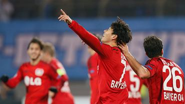 Leverkusens Son Heung-min celebrates his goal during the Champions League group C soccer match between Zenit St. Petersburg and Bayer 04 Leverkusen in St.Petersburg, Russia, Tuesday, Nov. 4, 2014. (AP Photo/Dmitry Lovetsky)