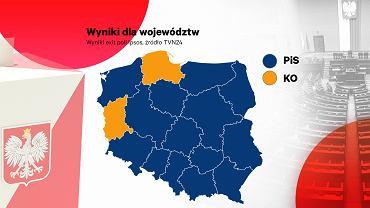 Sondaż IPSOS dla TVN24 - podział poparcia na województwa