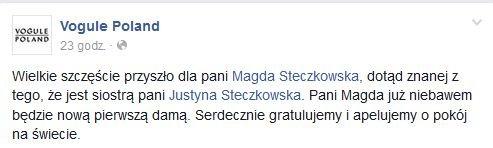 Wpis na profilu Vogule Poland