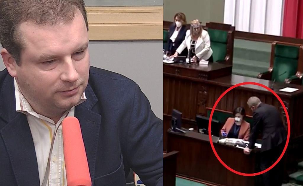 Jacek Wilk z Konfederacji broni Grzegorza Brauna, który bez maseczki nachylał się nad pracownicą Kancelarii Sejmu