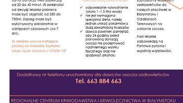 Regionalne Centrum Krwiodawstwa i Krwiolecznictwa w Białymstoku apeluje: w związku z coraz większą liczbą osób zakażonych koronawirusem, jak i coraz większą liczbą pacjentów wymagających hospitalizacji potrzebne jest osocze krwi osób, które przechorowały COVID-19.