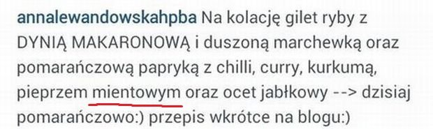 Wpis z Instagrama Anny Lewandowskiej