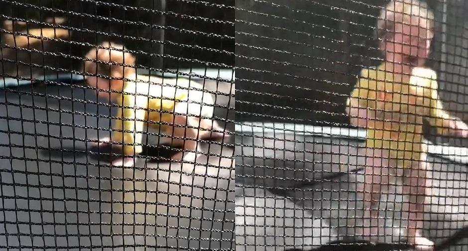 Dziecko bawiło się na trampolinie. Nagle zobaczyło swój cień i wpadło w panikę