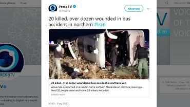 Wypadek autokaru w Iranie.