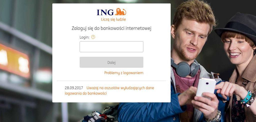 strona logowania do bankowości internetowej ING Banku Śląskiego