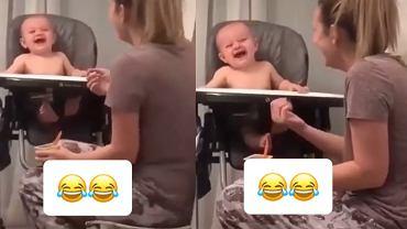 Mama karmiła dziecko i nagle kichnęła. Reakcja malca bawi do łez