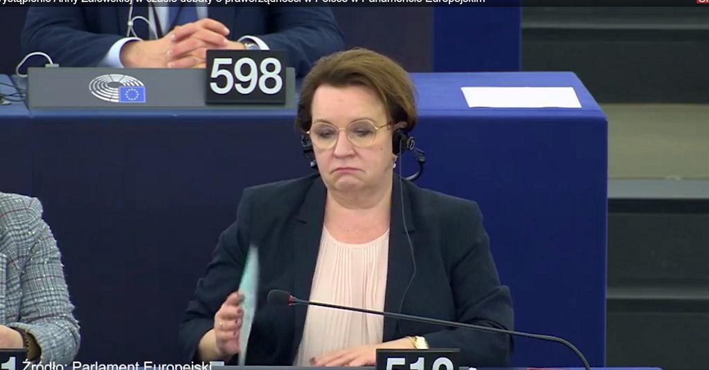 Anna Zalewska podczas debaty w PE