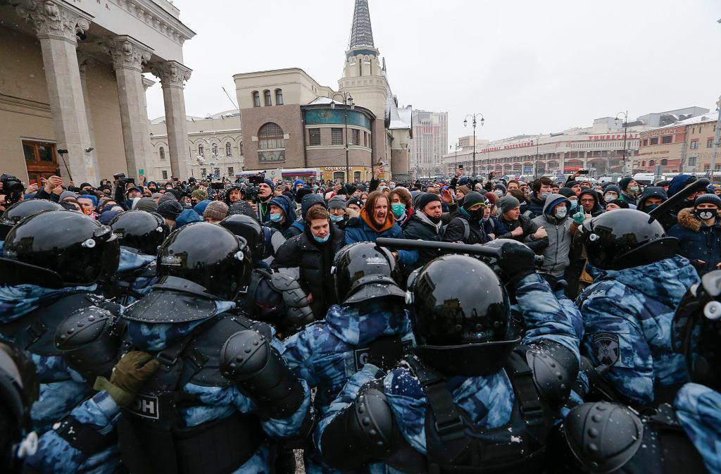 Protest w obronie aresztowanego opozycjonisty Aleksieja Nawalnego w Moskwie, 31 stycznia 2021 r.
