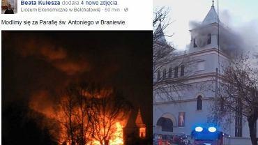 Pożar zabytkowego kościoła w Braniewie