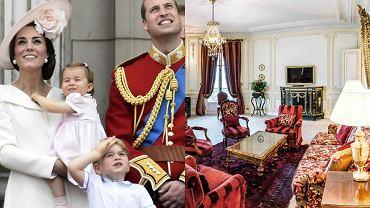 Księżna Kate, księżniczka Charlotte, książę George, książę William, wnętrza Hotel du Palais